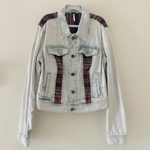 Free People Distressed crop denim jacket